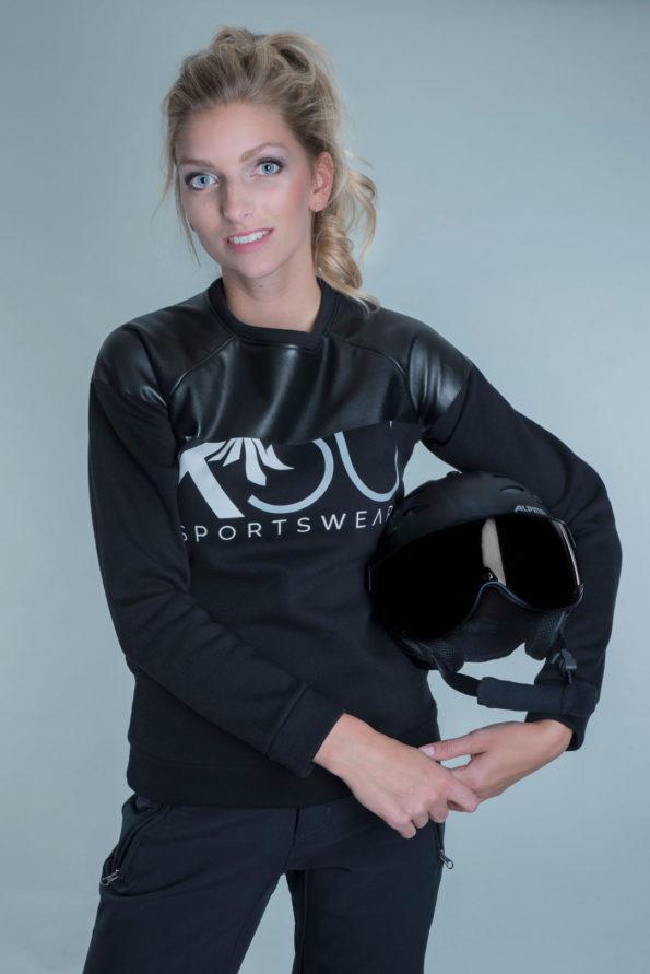 Sweater leather kou sportswear black