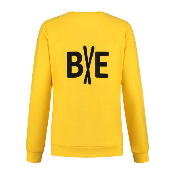 ladies sweater greetings yellow back