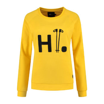 Ladies sweater greetings yellow front