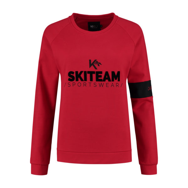 ladies sweater skiteam red front