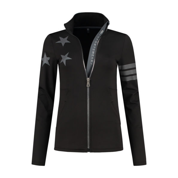vest zipper black stars front