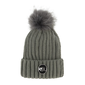 dames pompom muts grey