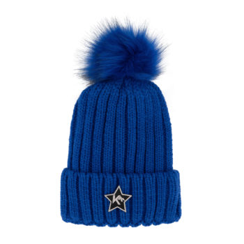 dames pompom muts royalblue