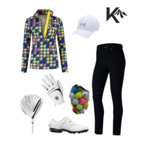 Golf outfit houndstooth combination