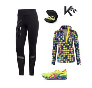 Running outfit houndstooth combination