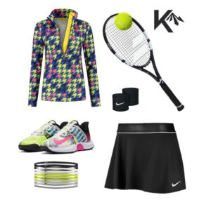 tennis outfit houndstooth combination